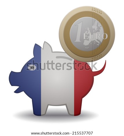 illustration of a euro coin going into a piggy bank with the flag of France - stock vector