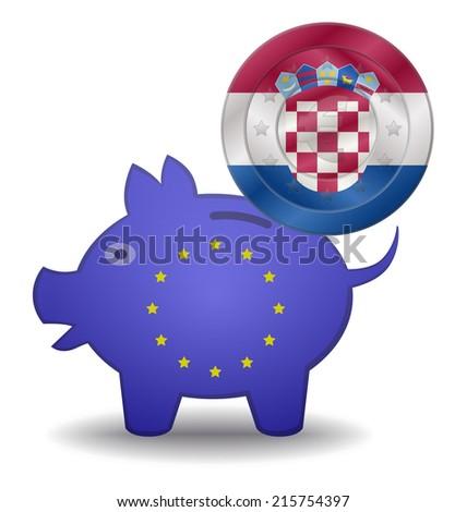 illustration of a European piggy bank and euro coin Croatia - stock vector