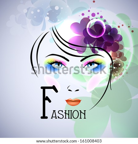 Illustration of a fahionable young girl face on floral decorated background. - stock vector