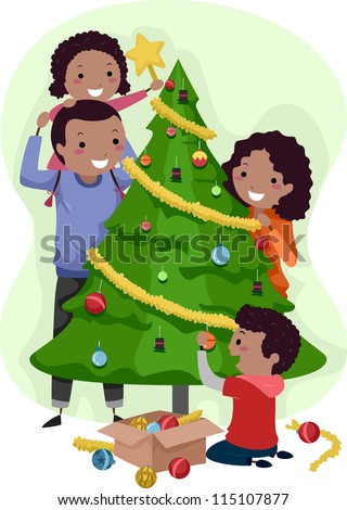 Illustration of a Family Decorating a Christmas Tree Together - stock vector
