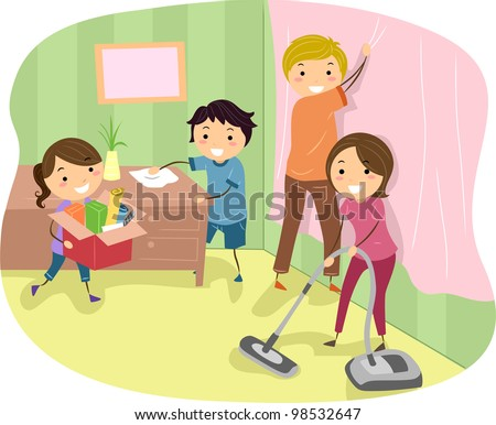 Illustration of a Family Doing Some Spring Cleaning - stock vector