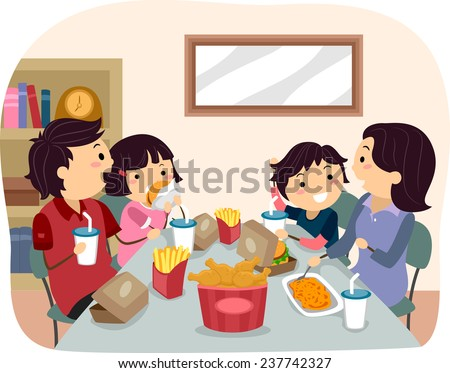 Illustration of a Family Eating Fast Food for Dinner - stock vector