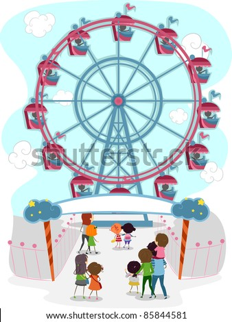 Illustration of a Family Going to Ride in a Ferris Wheel - stock vector