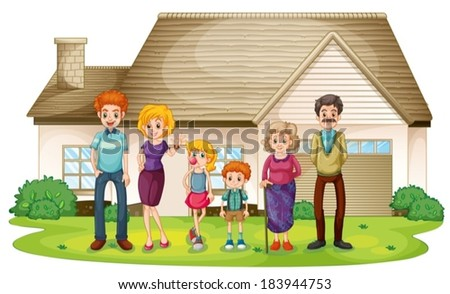 Illustration of a family outside their big house on a white background - stock vector