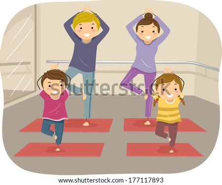 Illustration of a Family Practicing Yoga Moves Together - stock vector