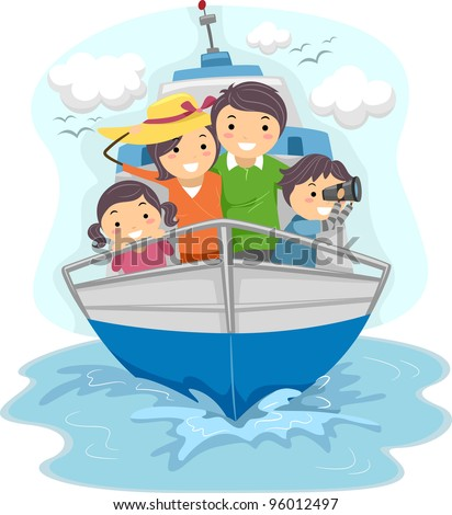 Illustration of a Family Traveling by Ship - stock vector