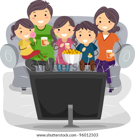 Illustration of a Family Watching a TV Show Together - stock vector
