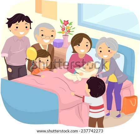 Illustration of a Family Welcoming the Birth of a New Baby - stock vector