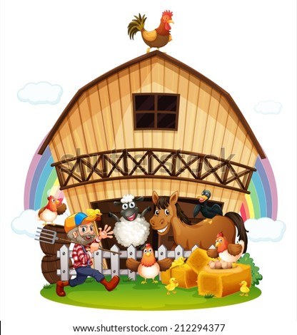 Illustration of a farm with farm animals on a white background - stock vector