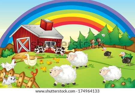 Illustration of a farm with many animals and a rainbow in the sky - stock vector