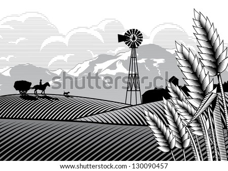 Illustration of a farmer and horse with a bullock cart carrying hay at rice filed, vector - stock vector