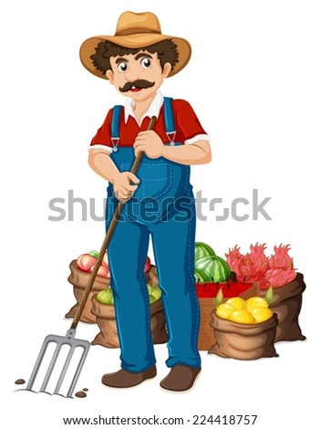 Illustration of a farmer and vegetables - stock vector
