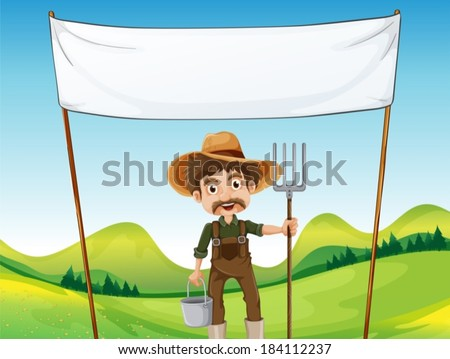 Illustration of a farmer below the empty signage - stock vector