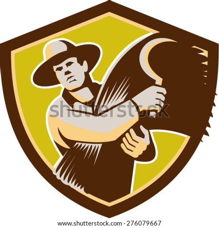 Illustration of a farmer farm worker holding scythe and wheat harvest facing front set inside shield crest on isolated background done in retro style. - stock vector