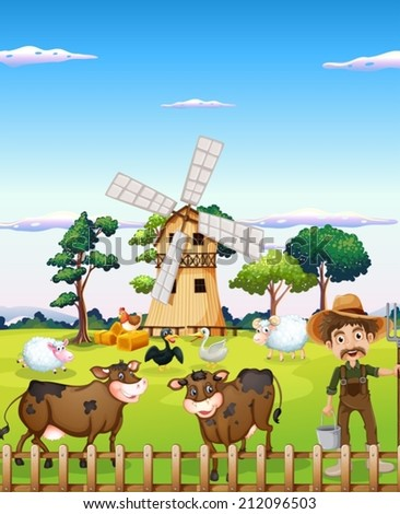 Illustration of a farmer with the farm animals - stock vector
