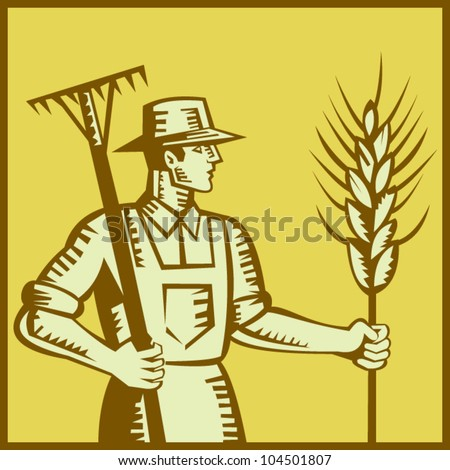 Illustration of a farmer worker holding a rake and wheat set inside square done in retro woodcut style. - stock vector