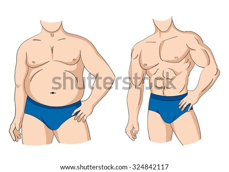 Illustration of a fat and muscular man figure  - stock vector