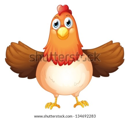 Illustration of a fat mother hen on a white background - stock vector