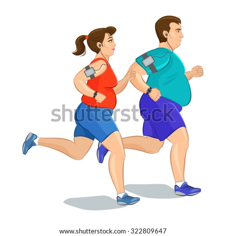 Illustration of a fat runners - couple running, health conscious concept. Sporty woman and man jogging - stock vector