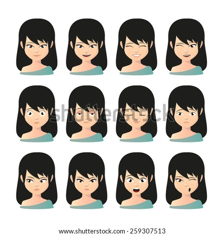 Illustration of a female asian avatar expression set - stock vector
