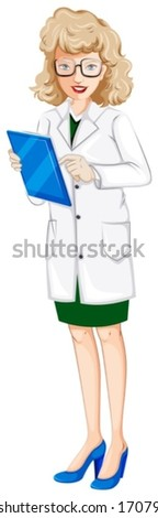 Illustration of a female doctor with a chart on a white background - stock vector
