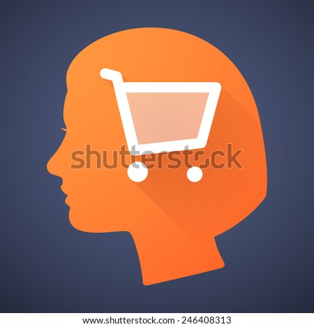 Illustration of a female head silhouette with a shopping cart - stock vector