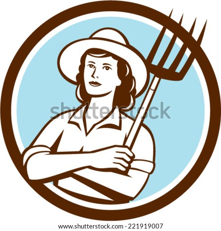 Illustration of a female organic farmer with pitchfork with hat facing front set inside circle on isolated bakcground done in retro style. - stock vector