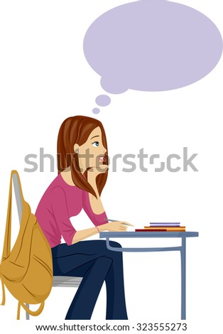 Illustration of a Female Teenager Daydreaming in Class - stock vector