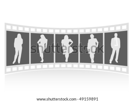 Illustration of a film strip with business people - stock vector