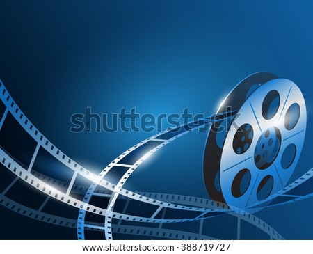 Illustration of a film stripe reel on shiny blue movie background - stock vector