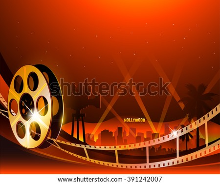 Illustration of a film stripe reel on shiny red movie background - stock vector