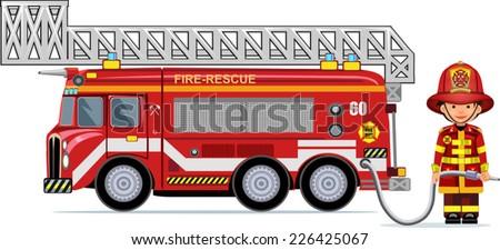illustration of a firefighter car - stock vector