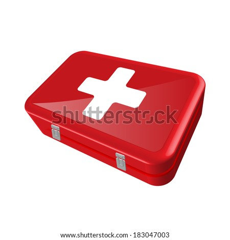 Illustration of a first aid kit isolated on a white background. - stock vector