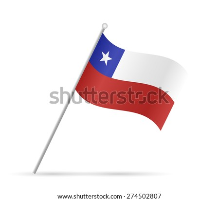Illustration of a flag from Chile isolated on a white background. - stock vector