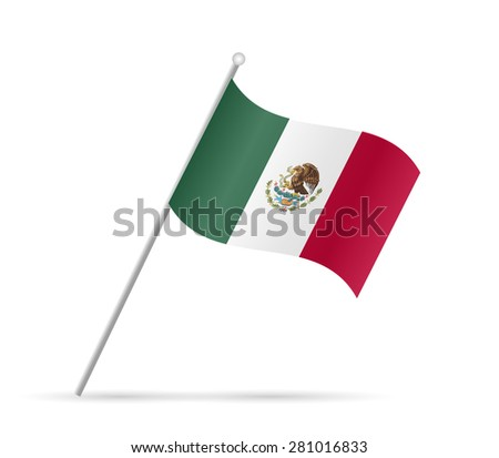 Illustration of a flag from Mexico isolated on a white background. - stock vector