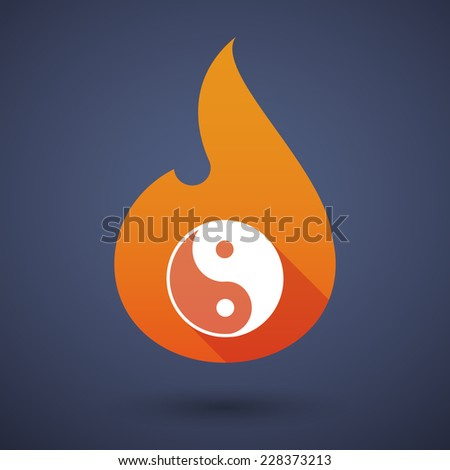 Illustration of a flame icon with a ying yang - stock vector