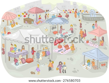 Illustration of a Flea Market Filled with People Out Shopping - stock vector