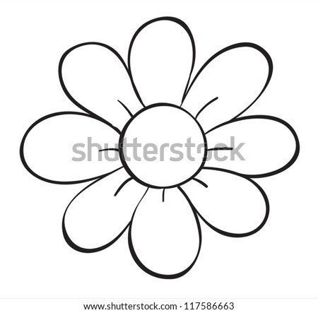 illustration of a flower sketch on white background - stock vector