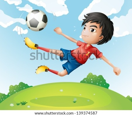 Illustration of a football player in his red uniform kicking the ball - stock vector