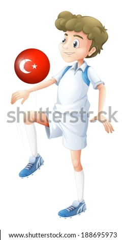 Illustration of a football player using the ball with the flag of Turkey on a white background - stock vector