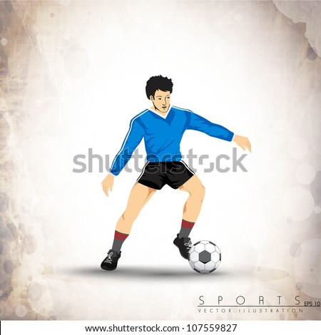 Illustration of a football player with shiny soccer ball  on grey background. EPS 10. - stock vector