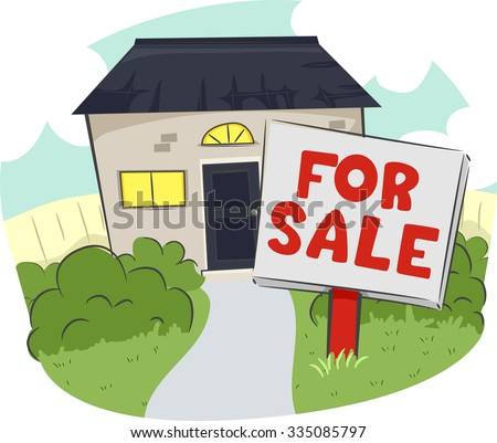 Illustration of a For Sale Sign in Front of a House and Lot - stock vector