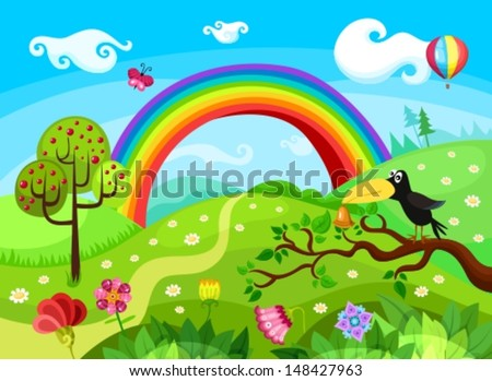illustration of a forest background - stock vector