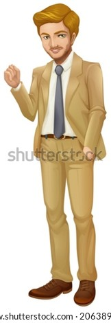 Illustration of a formal and serious businessman on a white background - stock vector
