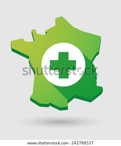 Illustration of a France green  map icon with a pharmacy sign - stock vector
