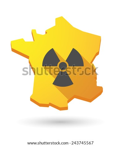Illustration of a France map icon with a radioactivity sign - stock vector
