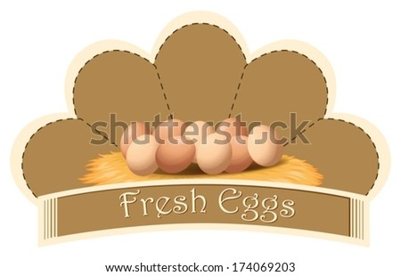 Illustration of a fresh eggs label with eggs on a white background - stock vector