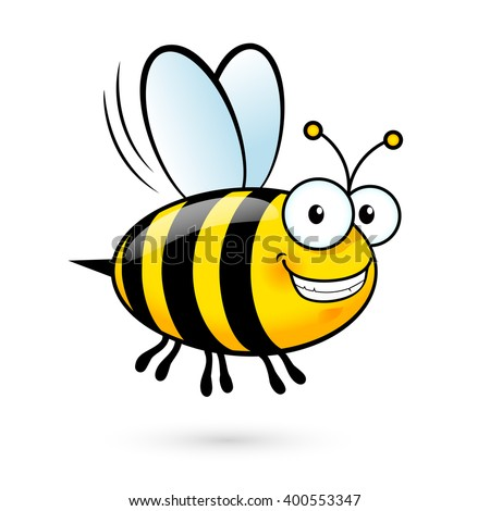 Illustration of a Friendly Cute Smiling Bee - stock vector