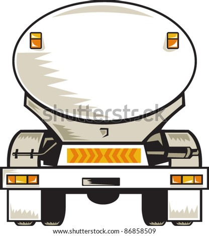 illustration of a fuel tanker rear view on isolated background done in retro style - stock vector