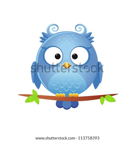 illustration of a funny character owl sitting on a branch - stock vector
